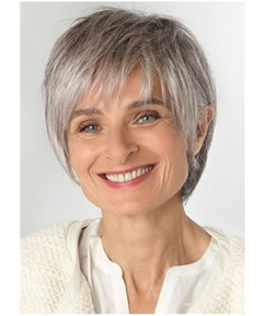 Short Choppy Layered Straight Synthetic Hair Capless Wigs for Older Women