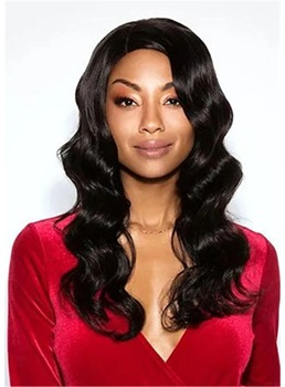 Long Human Hair Water Wave African American Women Wigs 22 Inches