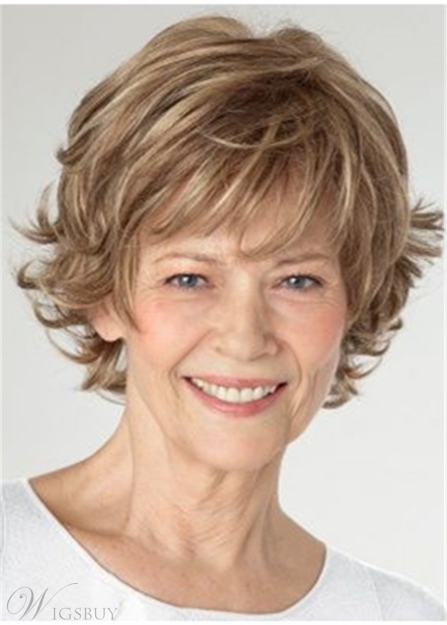 Short Bob Layered Cut Synthetic Hair Wavy Wig 10 Inches For Old Women