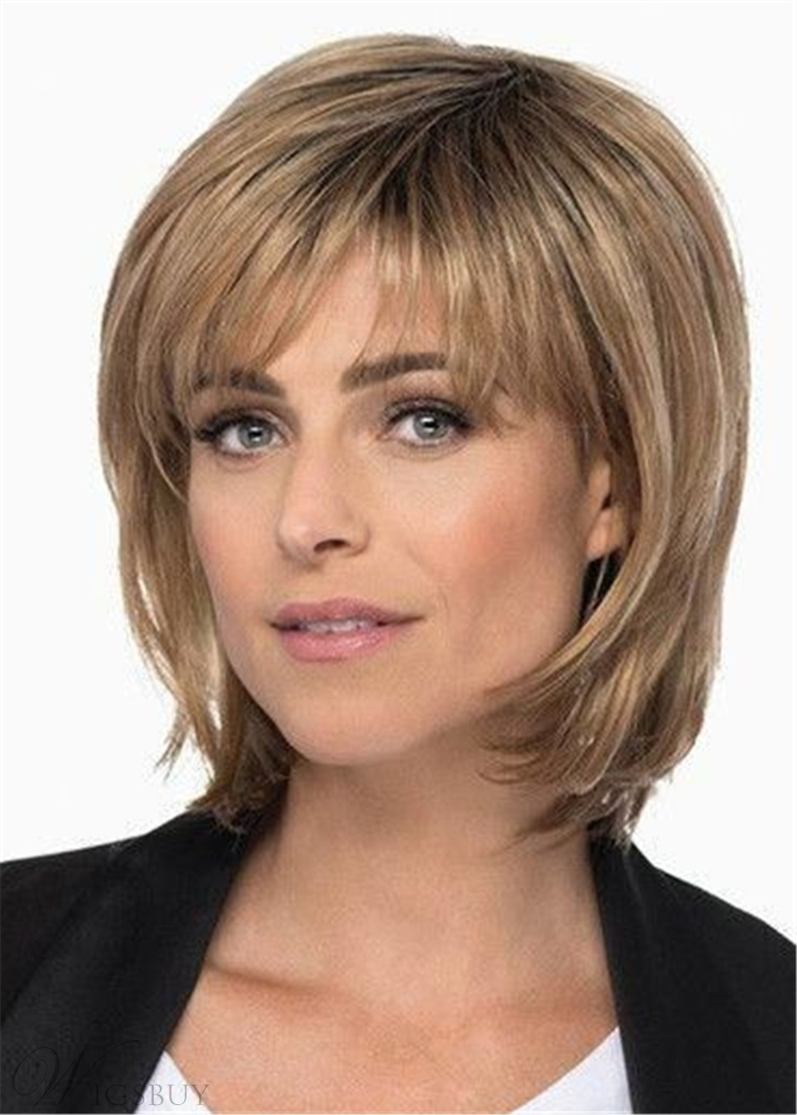 Medium Length Layered Bob With Bangs Synthetic Hair Lace Front Wig 14 Inches M Wigsbuy Com