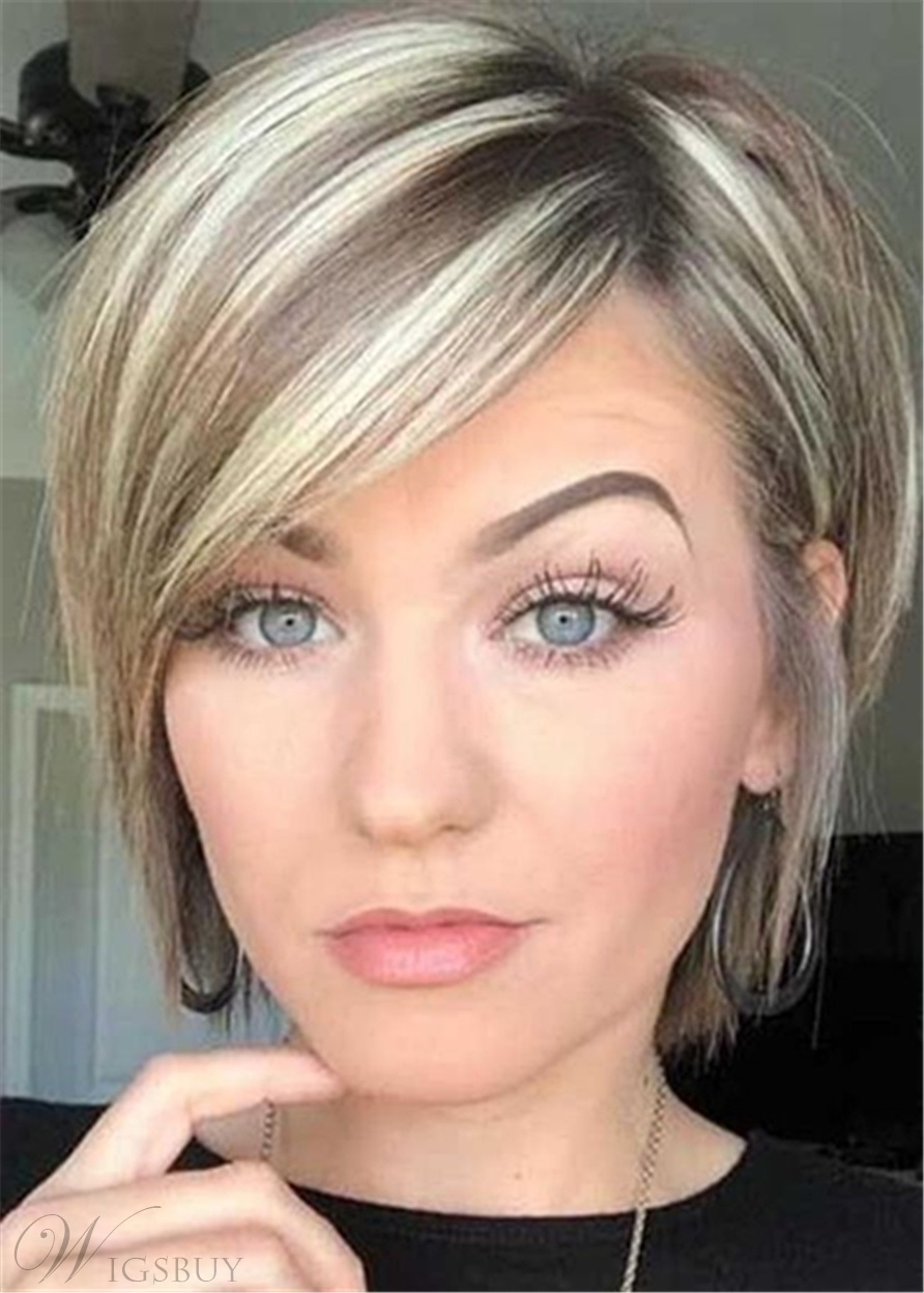 Short Layered Side Part Natural Straight Synthetic Hair Wig 12 Inches