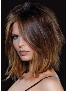 Women's Medium Bob Layered Hairstyles Natural Straight Human Hair Wigs Lace Front Wigs 16Inch