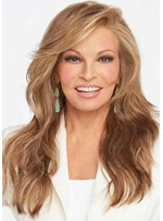 Women's Light Brown Color Side Part Hairstyles Long Wavy 100% Human Hair Wigs Lace Front Wigs 24 Inch