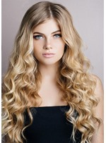 Women's Most Dazzling Curly Ombre Blonde Hairstyles Synthetic Hair Wigs Lace Front Cap Wigs 26Inch