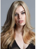 Natural Gold Blonde Color Women's Long Length Hairstyles Straight Synthetic Hair Capless Wigs 24Inch