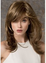 Women's Natural Looking Brown Color Straight 100% Human Hair Wigs Rose Lace Front Cap Wigs 22Inch
