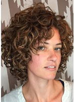 Women Short Curly Hairstyles Natural Looking Synthetic Hair Wigs Rose 120% Density Capless Wigs 12Inch