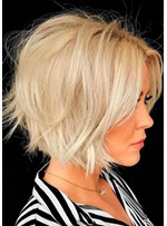 Women's 613 Blonde Short Bob Layered Hairstyles Straight Synthetic Hair Capless Wigs 10 Inch