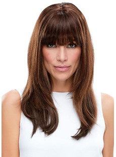 Incredibly Natural Looking Women 's Long Brown Straight Human Hair Wigs Lace Front Wigs Wigs Bangs 22Inch