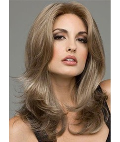 Fashion Women's Layered Wavy Hairstyles Middle Part Lace Front Cap Human Hair Wigs 22Inch