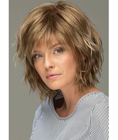 Messy Look Women's Shoulder Length Style Features Choppy Layers Wavy Human Hair Wigs Lace Front Wigs 10Inch