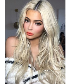 Women's 613 Blonde Color Long Length Natural Straight Mid Part Human Hair Wigs Rose Lace Front Wigs 24Inch