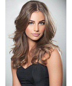 Cool Tone Brown Color Women's Natural Looking Loose Wave Synthetic Hair Wigs Rose Capless Wigs 24Inch