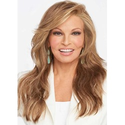 Womens Light Brown Color Side Part Hairstyles Long Wavy 100% Human Hair Wigs Lace Front Wigs 24 Inch