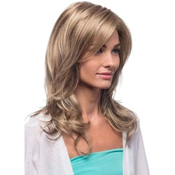 Blonde Color Womens Long Length Natural Looking Loose Wave Human Hair Lace Front Cap Wigs 22Inch