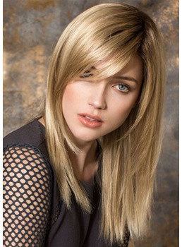 Women's Long Light Brown Blonde Natural Straight Human Hair Wigs Lace Front Wig With Bangs 20Inch