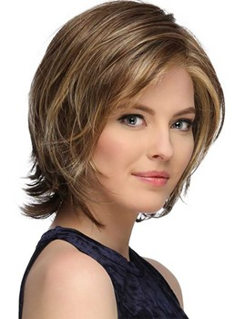 Women's Short Softly Layered Bob Hairstyles Lace Front Cap Wigs Straight 100% Human air Wigs 12Inch