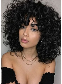 Women's Heat Resistant Natural Black Afro Curly Synthetic Hair Soft Fluffy Capless Wigs 16Inch