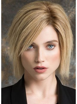 Elegant Short Layered Bob Hairstyles Women's Pixie Cut Straight Human Hair Lace Front Wigs 10Inch
