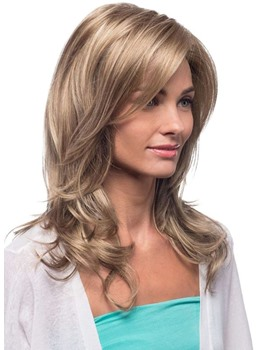 Blonde Color Women's Long Length Natural Looking Loose Wave Human Hair Lace Front Cap Wigs 22Inch