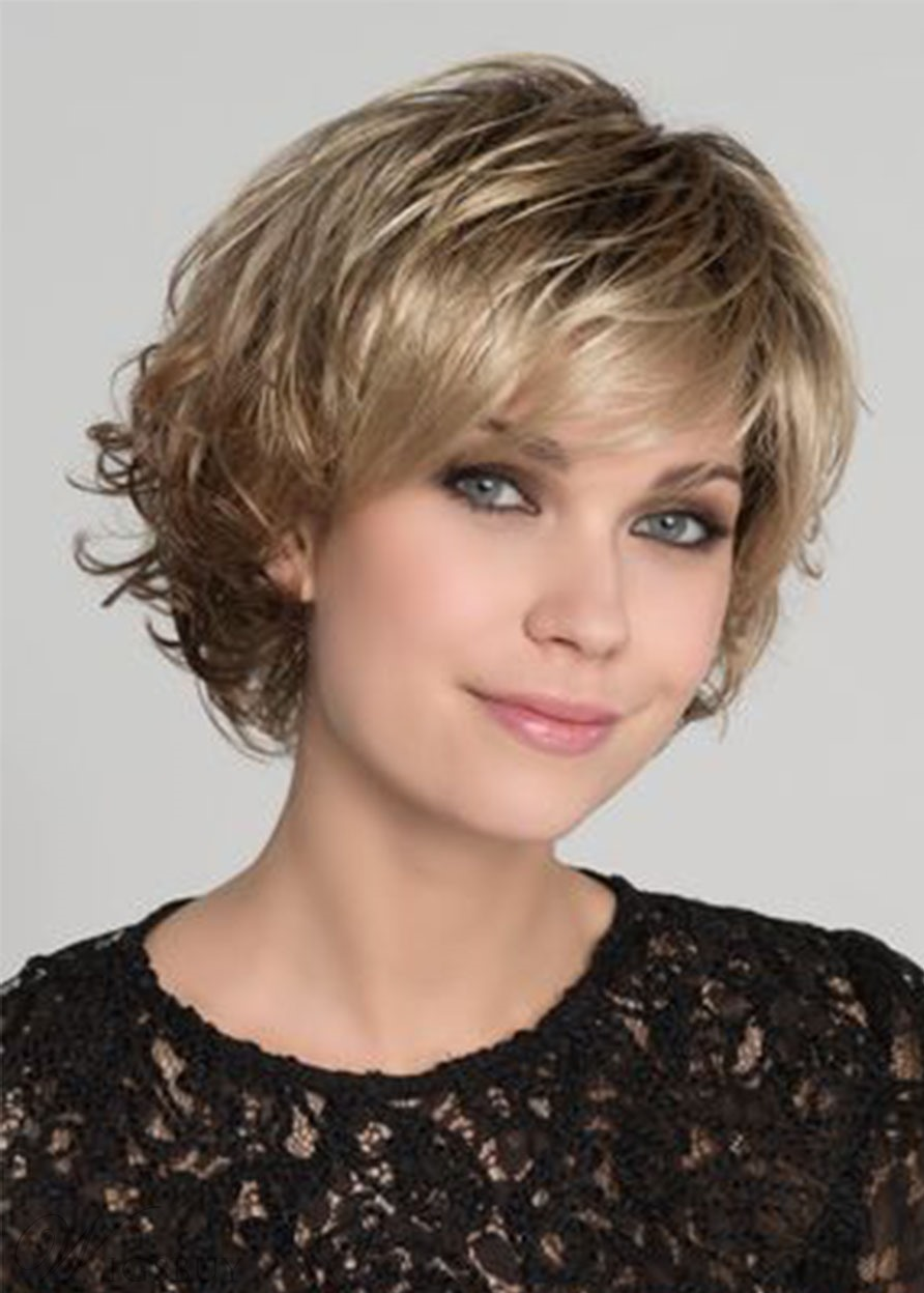 Women's Short Bob Layered Hairstyle Natural Straight Synthetic Hair Wigs Capless Wigs 14Inch