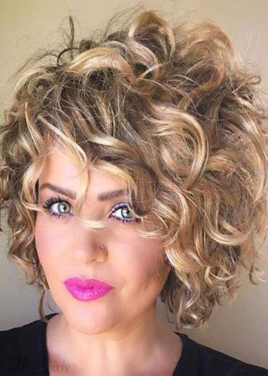 Durable Women's Short Length Big Curly Ombre Color Synthetic Hair Capless Wigs 12Inch