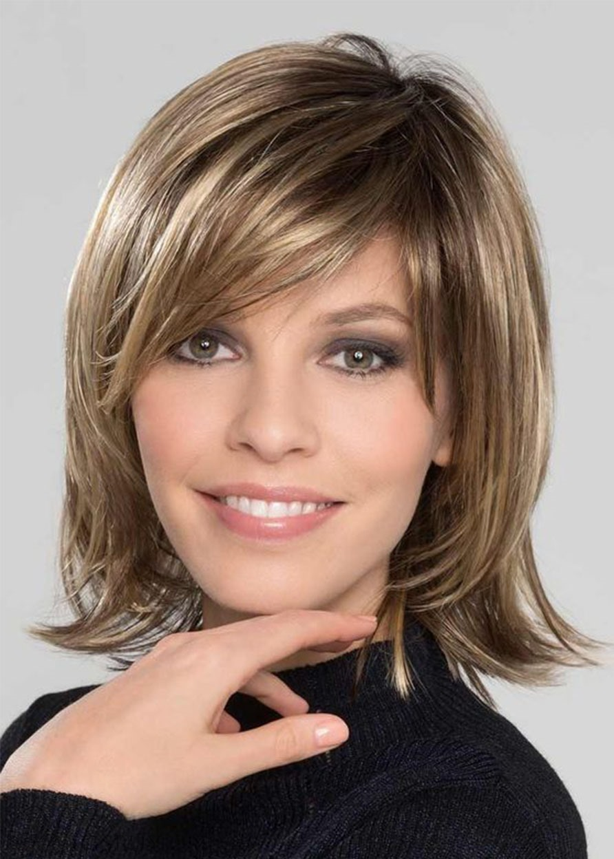 Women's Sweet Shaggy Bob Medium Hairstyles Straight Synthetic Hair With Bangs Capless Wigs 12 Inches