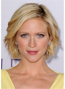 Brittany Snow Hairstyle Short Bob Human Hair Wavy Wig 14 Inches