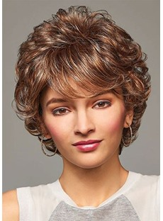 Affordable Prices Women's Short Layered Hairstyle Barely Waved Synthetic Hair Capless Wigs 12Inch