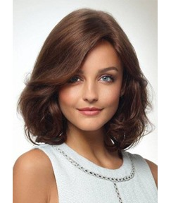 Women's Shoulder Length Natural Looking Heat Resistant Synthetic Hair Wigs Barely Waved Layers Capless Wigs 18Inch