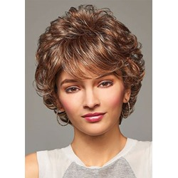 Affordable Prices Womens Short Layered Hairstyle Barely Waved Synthetic Hair Capless Wigs 12Inch
