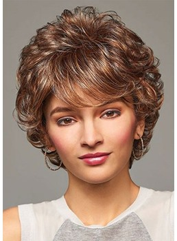 Sexy Women's Short Layered Hairstyle Barely Wavy Synthetic Hair Capless Wigs 12Inch