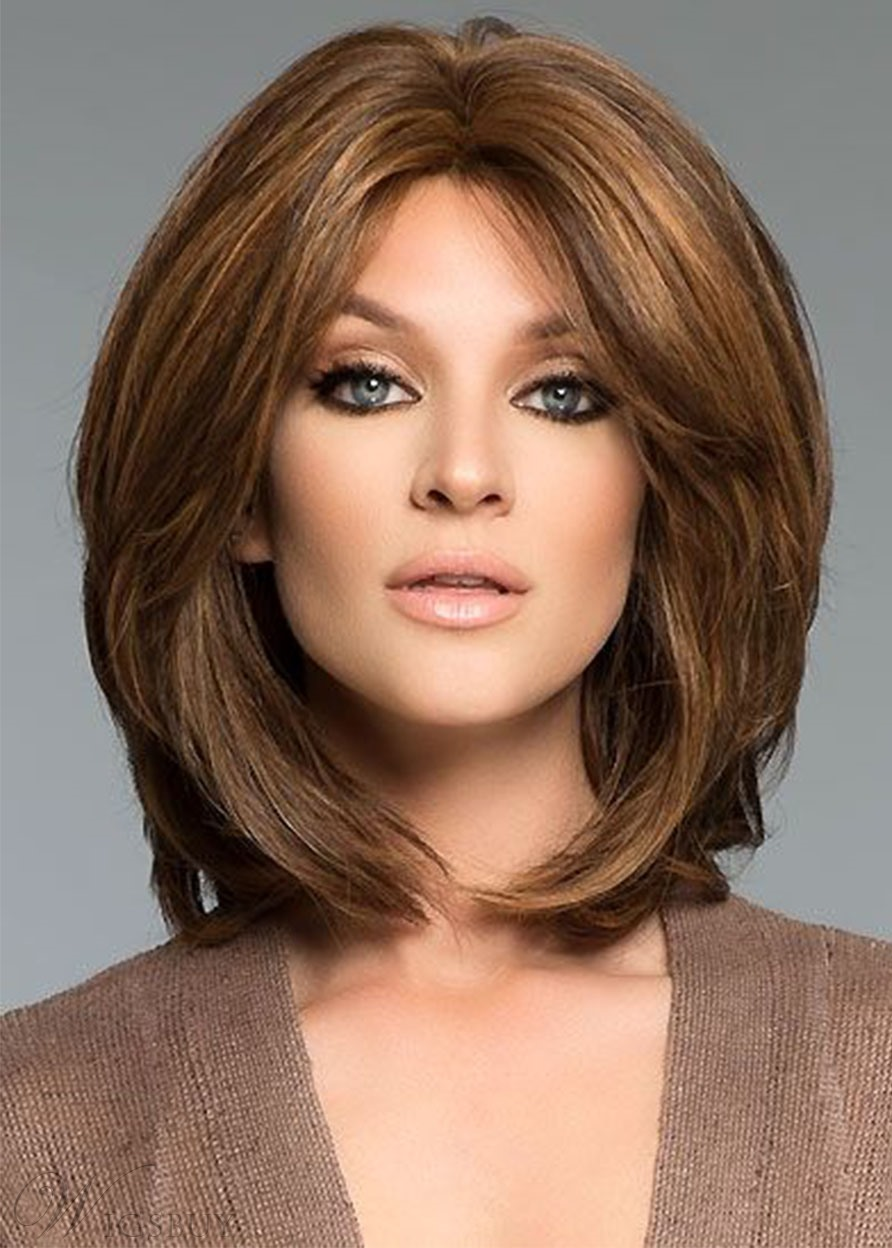 Full Hair Mid Part Medium Bob Hairstyles Women's Natural Straight Synthetic Hair Capless Wigs 16Inch