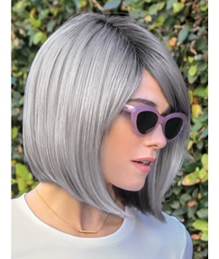 Salt and Pepper Short Bob Style Synthetic Straight Hair Wig 12 Inches