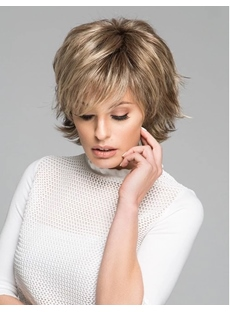 Short Layered Wavy Synthetic Straight Hair With Bangs Women Wig
