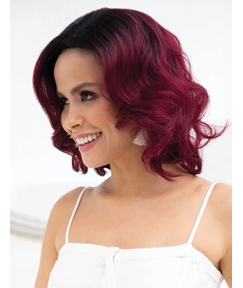 Purple Color Mediumn Bob Synthetic Hair Wavy Wig 12 Inches