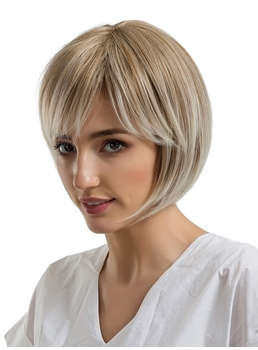 Shot Bob Synthetic Hair Natural Straight WIth Bangs Women Wig 10 Inches