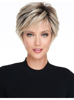 Pixie coupe courte coiffure synthétique droite femmes perruques 8inches
