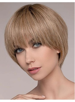 Short Bob Type Straight Synthetic Hair With Bangs Women Wig 12 Inches