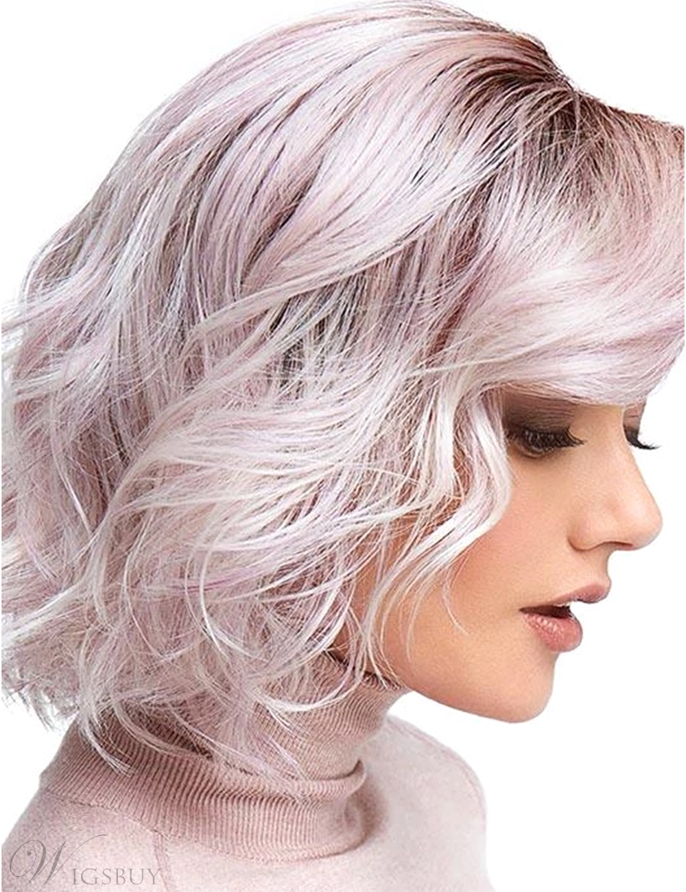 Medium Bob Style Synthetic Hair Wavy Pink Wig 12 Inches