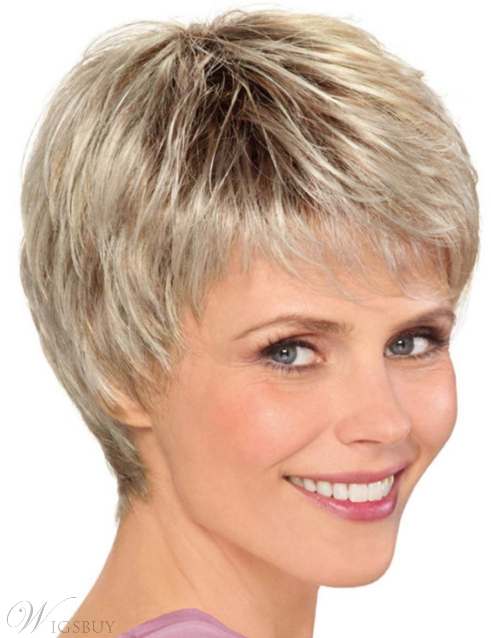 Short Choppy Layered Synthetic Hair Women Capless Wigs 10Inches