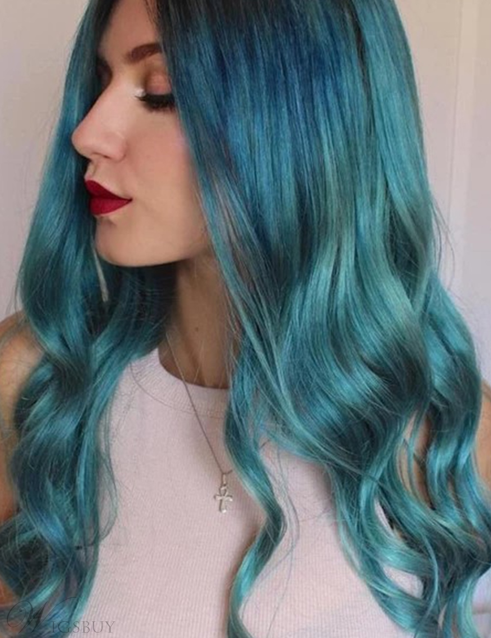 Blue Color Wig Long Wavy Synthetic Hair Wavy Wig 26 Inches