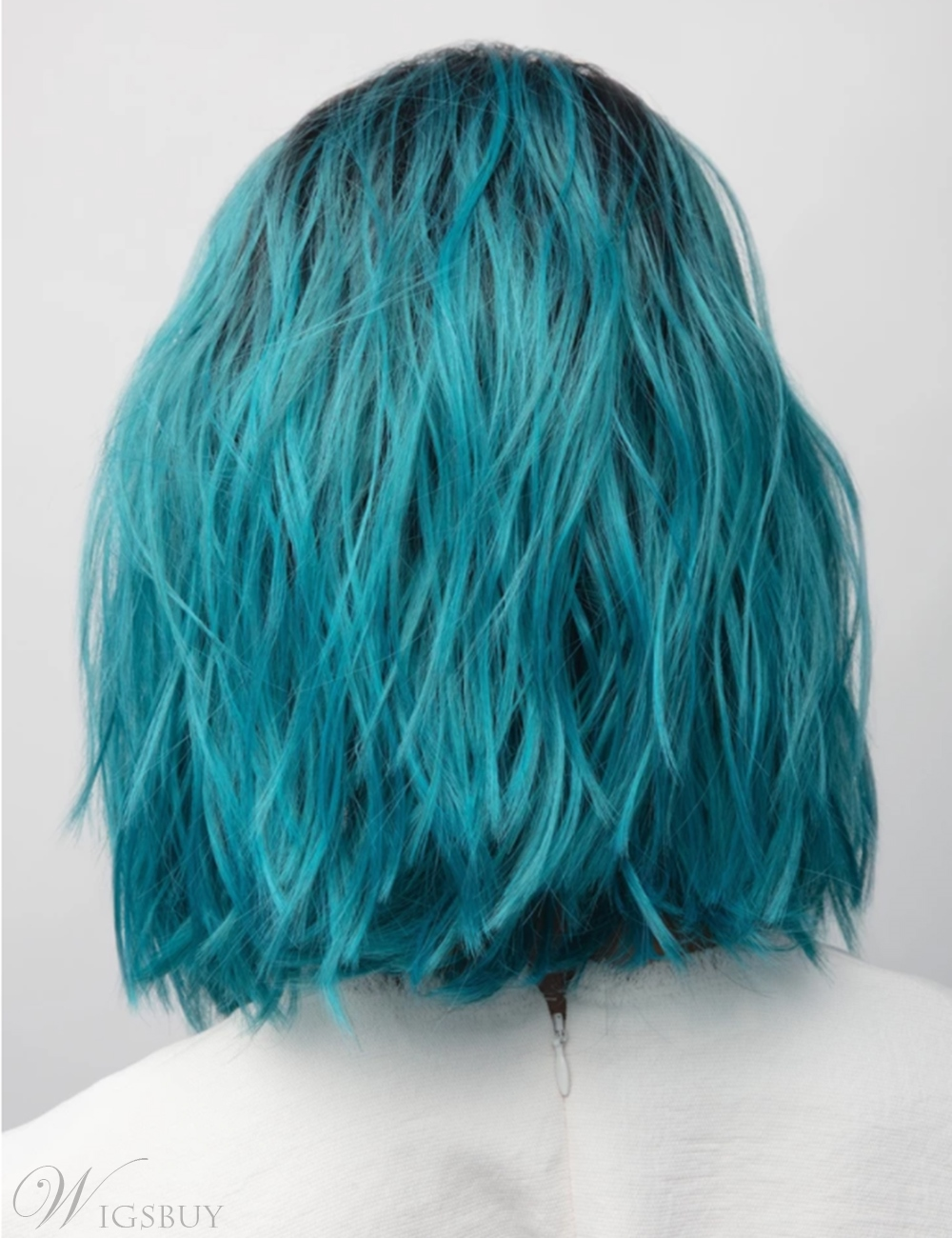 Long Bob Hairstyle Blue Color Synthetic Hair Wavy Wig 12 Inches