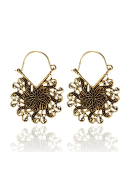 Fashion Flowers Cutout Vintage E-Plating Alloy Earrings Vintage Alloy Earrings Women's Earrings