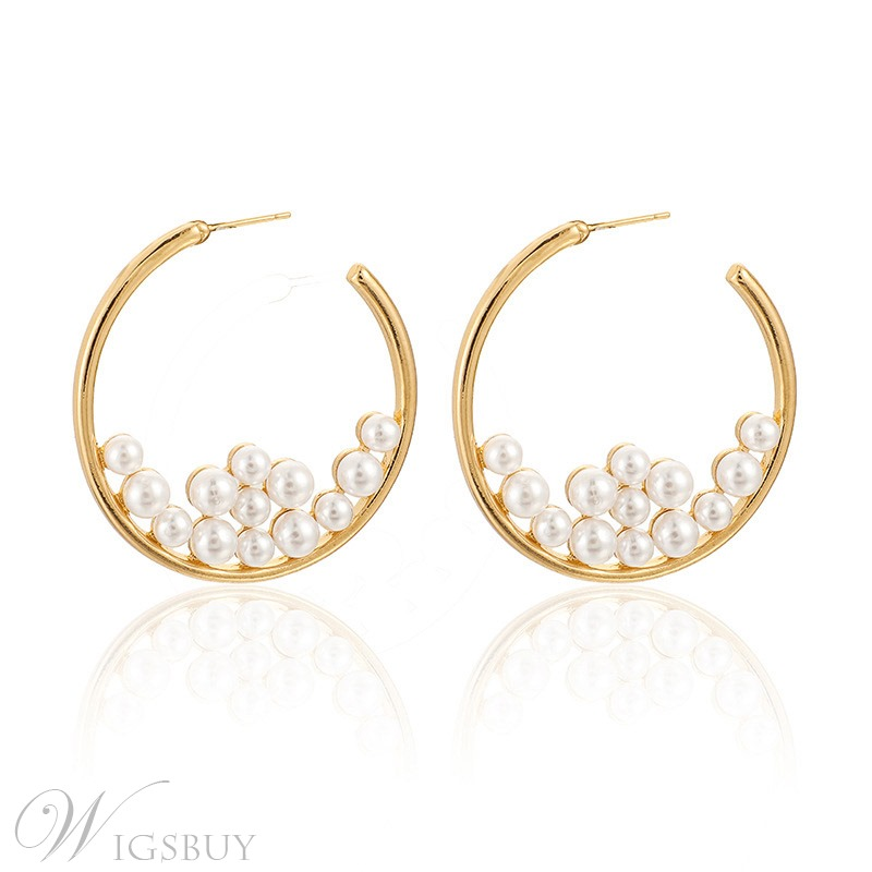 Fashion Women Crystal Pearl Circle Statement Drop Earrings Dangle Wedding Jewelry