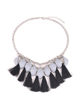Women's Vintage Alloy Pendant Necklace Tassel Link Chain Necklace Jewelry