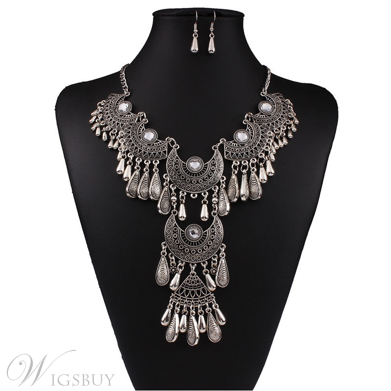 Alloy Wedding Bridal Party Vintage Hollow Out Necklace Earring Jewelry Sets Gifts