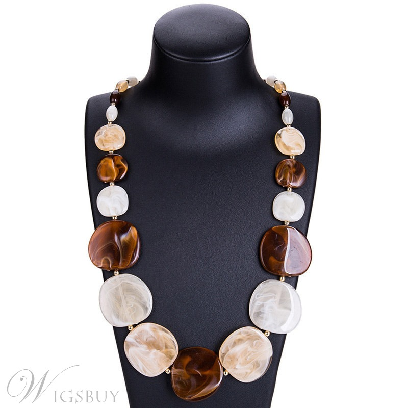 European Style Women's E-Plating Color Block Chain Necklace Acrylic Chain Necklace For Party