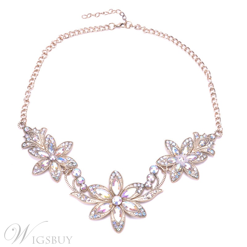 Women/Ladies Sweet Style Floral Pattern Alloy Diamante Pendant Nacklace Jewelry