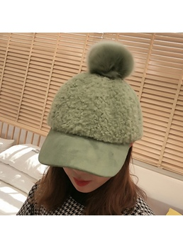Adjustable Women's Pompon Plain Short Brim Hats Spring Fall Winter Dome Baseball Cap